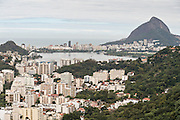 Lagoa neighborhood looking toward Leblon seen from the hillside in the Favela Santa Marta in Rio de Janeiro, Brazil.