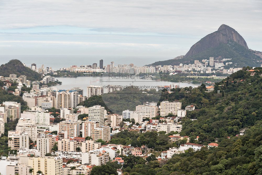 Lagoa neighborhood looking toward Leblon seen from the hillside in the Favela Santa Marta in Rio de Janeiro, Brazil.