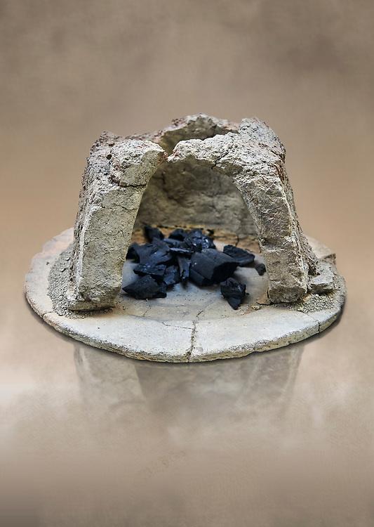 Hittite charcoal burning hearth from thr Hittite capital Hattusa, Hittite New Kingdom 1650-1450 BC, Bogazkale archaeological Museum, Turkey.