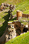North Walls & Ravine with cave houses around Ani archaelogical site on the Ancient Silk Road , Kars , Anatolia, Turkey .<br /> <br /> If you prefer to buy from our ALAMY PHOTO LIBRARY  Collection visit : https://www.alamy.com/portfolio/paul-williams-funkystock/ani-turkey.html<br /> <br /> Visit our TURKEY PHOTO COLLECTIONS for more photos to download or buy as wall art prints https://funkystock.photoshelter.com/gallery-collection/3f-Pictures-of-Turkey-Turkey-Photos-Images-Fotos/C0000U.hJWkZxAbg