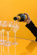 Tasting champagne at Veuve Clicquot in Reims, France.
