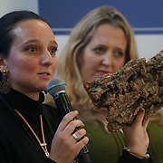 London, England, UK. 20th October 2017.  Natalia Watts is a Designer and owner of Watts Kork talk Ethical Vegan Fashion at the Vegen Celebrity Zone.