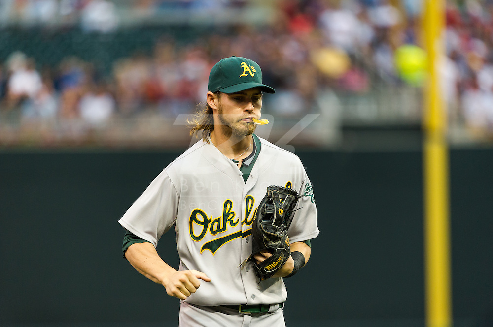 Oakland Athletics right fielder Josh Reddick during a game against the Minnesota Twins on July 13, 2012 at Target Field in Minneapolis, Minnesota.  The Athletics defeated the Twins 6 to 3.  © 2012 Ben Krause