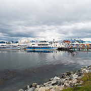 Boats are docked in Port Ushuaia, Argentina.