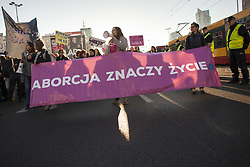 September 30, 2018 - Warsaw, Poland - Abortion means Life banner during Pro Choice March in Warsaw on September 30, 2018. (Credit Image: © Maciej Luczniewski/NurPhoto/ZUMA Press)