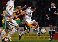 Photo: Ashley Pickering.<br /> Norwich City v Blackpool. The FA Cup. 13/02/2007.<br /> Youssef Safri of Norwich (yellow) and Wes Hoolahan of Blackpool