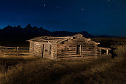 Night time at the historic old Shane Cabin in Grand Teton National Park in Jackson Hole, WY.