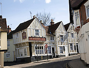 The Stockwell Arms pub, fourteenth century origins timber framed building where  Daniel Defoe once lived.  Colchester, Essex