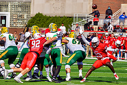 NORMAL, IL - October 16: Braydon Deming approaches Quincy Patterson from the back as Clayton Isbell attacks from the front to force a hurry up pass during a college football game between the NDSU (North Dakota State) Bison and the ISU (Illinois State University) Redbirds on October 16 2021 at Hancock Stadium in Normal, IL. (Photo by Alan Look)