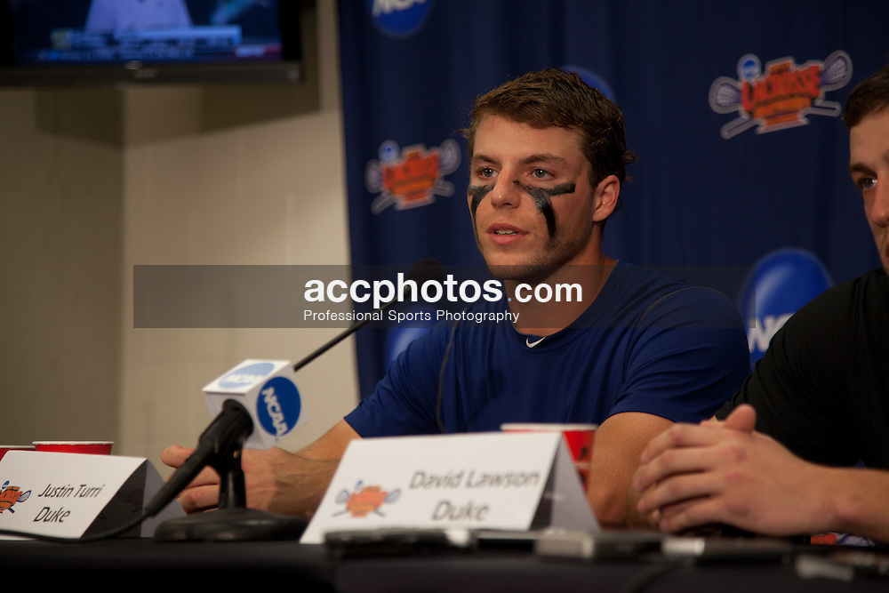 28 May 2011: Justin Turri #12 of the Duke Blue Devils in a post game press conference at M&T Bank Stadium in Baltimore, MD.