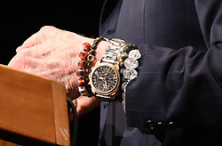 Gemini XII & Apollo XI astronaut Buzz Aldrin wears rings and skulls bracelets as he speaks during the Humans 2 Mars Summit at the George Washington University in Washington, DC, on May 9, 2017.