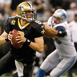 December 4, 2011; New Orleans, LA, USA; New Orleans Saints quarterback Drew Brees (9) against the Detroit Lions during the second half of a game at the Mercedes-Benz Superdome. The Saints defeated the Lions 31-17. Mandatory Credit: Derick E. Hingle-US PRESSWIRE