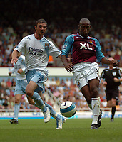 Photo: Tony Oudot. <br /> West Ham United v Manchester City. Barclays Premiership. 11/08/2007. <br /> Luis Boa Morte of West Ham with Stephen Ireland of Manchester City