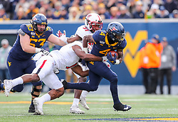 Nov 9, 2019; Morgantown, WV, USA; West Virginia Mountaineers running back Leddie Brown (4) runs the ball during the first quarter against the Texas Tech Red Raiders at Mountaineer Field at Milan Puskar Stadium. Mandatory Credit: Ben Queen-USA TODAY Sports