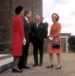 Queen Elizabeth II with Prime Minister Edward Heath and American President Richard Nixon and his wife Pat Nixon at Chequers, the official country residence of the Prime Minister in Buckinghamshire.