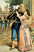 Man wearing military uniform, holding rifle, and embracing woman with troops in background] 1898. Caption: Good bye, - God spare you!