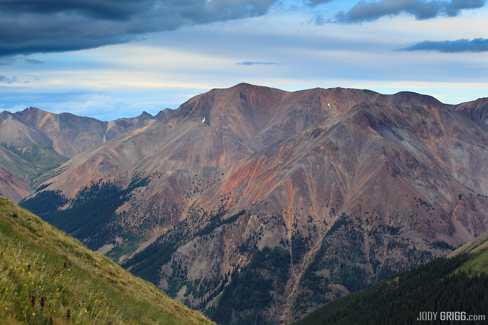 Redcloud Peak 14,034ft viewed from the south on the high slopes of Whitecross mountain.