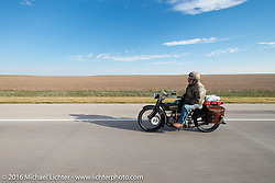 Frank Westfall riding his 1928 Henderson Deluxe during Stage 9 (249 miles) of the Motorcycle Cannonball Cross-Country Endurance Run, which on this day ran from Burlington to Golden, CO., USA. Sunday, September 14, 2014.  Photography ©2014 Michael Lichter.