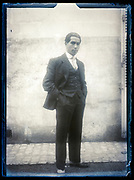 portrait of a standing adult man outdoors France ca 1920s