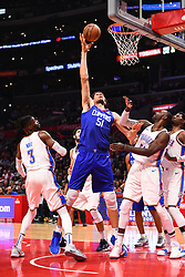 October 19, 2018 - Los Angeles, CA, U.S. - LOS ANGELES, CA - OCTOBER 19: Los Angeles Clippers Center Boban Marjanovic (51) scores a basket during a NBA game between the Oklahoma City Thunder and the Los Angeles Clippers on October 19, 2018 at STAPLES Center in Los Angeles, CA. (Credit Image: © Brian Rothmuller/Icon SMI via ZUMA Press)