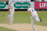 Chris Wright batting against Chris Rushworth during the Specsavers County Champ Div 2 match between Durham County Cricket Club and Leicestershire County Cricket Club at the Emirates Durham ICG Ground, Chester-le-Street, United Kingdom on 20 August 2019.