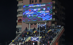 A general view of the scoreboard reading 4-0 at full time during the UEFA Nations League, Group C1 match at the Loro Borici Stadium, Shkoder.