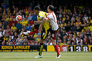 Troy Deeney of Watford  holding off John O'Shea of Sunderland. Barclays Premier league match, Watford v Sunderland at Vicarage Road in Watford, London on Sunday 15th May 2016.<br /> pic by Steffan Bowen, Andrew Orchard sports photography.