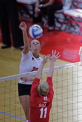 15 SEP 2009: Mallory Leggett attacks towards Brianne Graunke. The Redbirds of Illinois State defeated the Cougars of Southern Illinois Edwardsville in 3 sets during play in the Redbird Classic on Doug Collins Court inside Redbird Arena in Normal Illinois