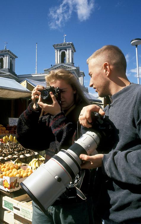 Work experience; teenage girl with photographer UK