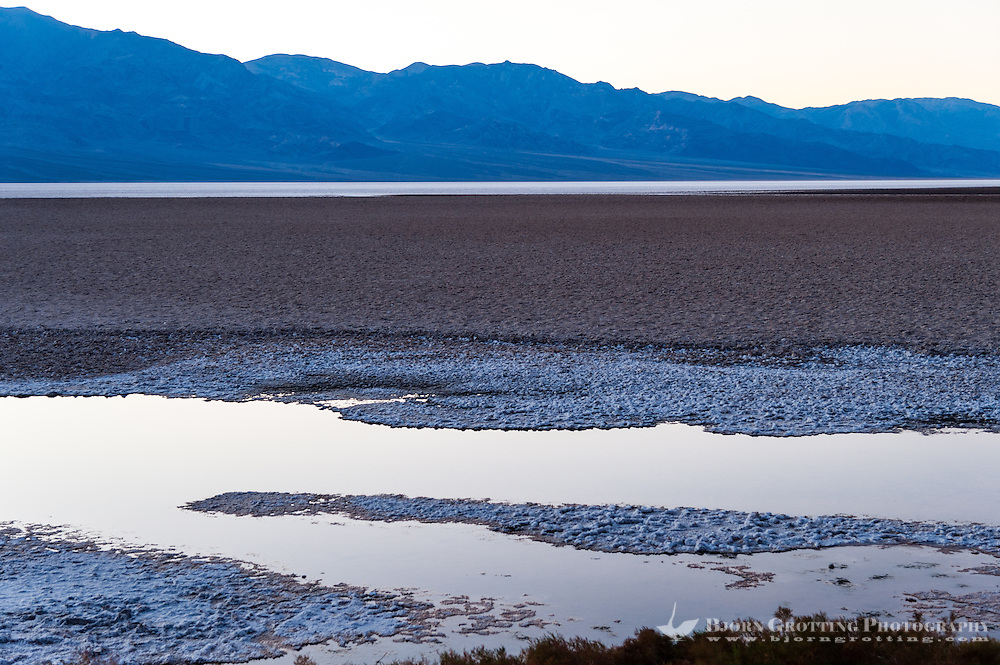 United States, California, Death Valley. Badwater is a salt flat 86 meters (282 ft) below sea level. Just after sunset.