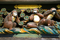 The stable of the shrine's sacred horses bears a carving of the three wise monkeys, who hear, speak and see no evil, a traditional symbol in Chinese and Japanese culture.<br /> Ieyasu's son, the second shogun Hidetada, ordered the construction of the Nikko Toshogu Shrine. Later, the third shogun Iemitsu had the shrine enlarged and lavishly decorated.