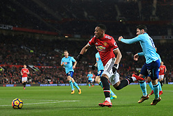 13th December 2017 - Premier League - Manchester United v Bournemouth - Anthony Martial of Man Utd gets past Adam Smith of Bournemouth - Photo: Simon Stacpoole / Offside.