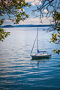 Sailboat in Obstruction Pass State Park on Orcas Island, Washington