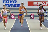 Ewa Swoboda (Poland), Dafne Schippers (Netherlands), Asha Philip (Great Britain), 60m Women Final, during the European Athletics Indoor Championships 2019 at Emirates Arena, Glasgow, United Kingdom on 1 March 2019.