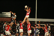 EDF Energy cup, Scarlets v Bristol Rugby at Stradey Park, Llanelli on 24th Oct 2008. action from the last ever match at the famous ground. Simon Easterby of the Scarlets wins a lineout