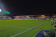 The lights are out in one corner of the stadium and the game stopped during the Sky Bet League 2 play-off second leg match between Accrington Stanley and AFC Wimbledon at the Fraser Eagle Stadium, Accrington, England on 18 May 2016. Photo by Pete Burns.