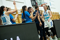 Annamaria PREZELJ of Slovenia with teammates during basketball match qualifications for European Championship, round 1, between national teams Slovenia and Greece in Arena Celje - Center, 14. November, Ljubljana, Slovenia. Photo by Grega Valancic / Sportida