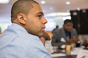 Purchase, NY – 31 October 2014. Alexander Hamilton High School's Christopher Clough listening to the discussion of their case. Alexander Hamilton High School placed third in the 2014 competition. The Business Skills Olympics was founded by the African American Men of Westchester, is sponsored and facilitated by Morgan Stanley, and is open to high school teams in Westchester County.