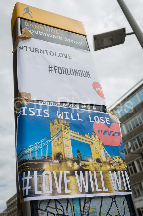 In the aftermath of the London Bridge and Borough Market terrorist attack the previous night, the hashtags #turntolove and #forlondon appears a half a mile from the crime scene where 7 people were killed and many others injured Sundays total. On Sunday 4th June 2017, in the south London borough of Southwark, England.
