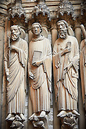 South Porch, central Portal c. 1194-1230,  Cathedral of Notre Dame, Chartres, France. Gothic statues of from left to right they are .Paul, John and James Major A UNESCO World Heritage Site. .<br /> <br /> Visit our MEDIEVAL ART PHOTO COLLECTIONS for more   photos  to download or buy as prints https://funkystock.photoshelter.com/gallery-collection/Medieval-Middle-Ages-Art-Artefacts-Antiquities-Pictures-Images-of/C0000YpKXiAHnG2k