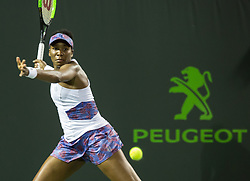 March 28, 2018 - Key Biscayne, Florida, United States - Venus Williams, from the US, in action against Danielle Collins, from the USA during her quarter final match at the Miami Open in Key Biscayne. Collins defeated Williams 6-2, 6-3 in Miami, on March 28, 2018. (Credit Image: © Manuel Mazzanti/NurPhoto via ZUMA Press)