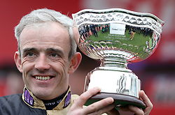 Jockey Ruby Walsh with the trophy after riding Nichols Canyon, winning the Sun Bets Stayers' Hurdle during St Patrick's Thursday of the 2017 Cheltenham Festival at Cheltenham Racecourse. PRESS ASSOCIATION Photo. Picture date: Thursday March 16, 2017. See PA story RACING Cheltenham. Photo credit should read: David Davies/PA Wire. RESTRICTIONS: Editorial Use only, commercial use is subject to prior permission from The Jockey Club/Cheltenham Racecourse.