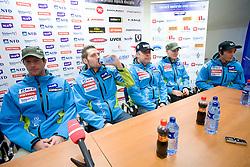 Andrej Jerman, Ales Gorza, Dejan Poljansek, Andrej Sporn and Rok Perko at press conference of Men Slovenian alpine team before the World Championship in Val d'Isere, France,  on January 26, 2009, in Ljubljana, Slovenia.  (Photo by Vid Ponikvar / Sportida)
