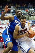 Nick Russell #12 of the SMU Mustangs drives to the basket against the Memphis Tigers at Moody Coliseum on Wednesday, February 6, 2013 in University Park, Texas. (Cooper Neill/The Dallas Morning News)