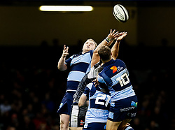 Rhys Gill of Cardiff Blues goes for the high ball<br /> <br /> Photographer Simon King/Replay Images<br /> <br /> Guinness PRO14 Round 21 - Cardiff Blues v Ospreys - Saturday 27th April 2019 - Principality Stadium - Cardiff<br /> <br /> World Copyright © Replay Images . All rights reserved. info@replayimages.co.uk - http://replayimages.co.uk