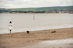 The weather was neither hot nor cold as Portobello residents took to the beach with plenty of social distancing possible. Kids, dogs and frogmen in the water all part of the easing of the lockdown scene.