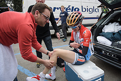 Christine Majerus gets a pre-race rub at Strade Bianche - Elite Women. A 127 km road race on March 4th 2017, starting and finishing in Siena, Italy. (Photo by Sean Robinson/Velofocus)