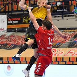 Coburgs Schröder / Schroeder, Andreas gegen Ludwigshafens Haider, Maximilian (Nr.14)  beim Spiel in der Handball Bundesliga, Die Eulen Ludwigshafen - HSC 2000 Coburg.<br /> <br /> Foto © PIX-Sportfotos *** Foto ist honorarpflichtig! *** Auf Anfrage in hoeherer Qualitaet/Aufloesung. Belegexemplar erbeten. Veroeffentlichung ausschliesslich fuer journalistisch-publizistische Zwecke. For editorial use only.