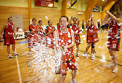 Branka Vukicevic celebrates at finals of Slovenian women basketball 1st league between Hit Kranjska Gora and ZKK Merkur Celje, on May 15, 2007, in Kranjska Gora, Slovenia. (Photo by Vid Ponikvar / Sportida)