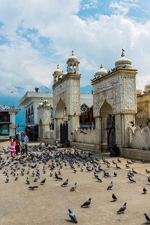 Hazratbal Shrine, along Dal Lake in Srinagar, Kashmir, Jammu and Kashmir State, India.